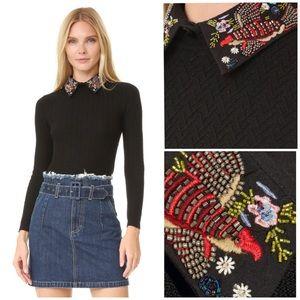 "Alice + Olivia ""Brooke"" bird collar sweater M"